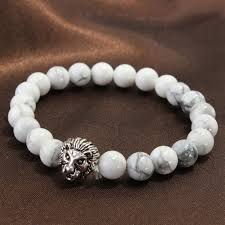 stone beaded bracelet images White howlite stone beads silver lion head bracelet for men jpg