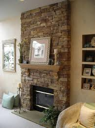 interior stunning veneer stone fireplace with wooden accent