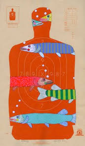black friday shooting target spaceman hand painted paper shooting target by jenniferdavis