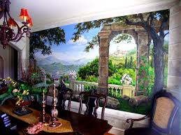 wall murals gregory arth dining room private home canvas mural detail dining room private home