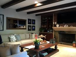 pro living room remodel with beams faux workshop