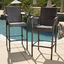 Brown Wicker Patio Furniture Amazon Com Set Of 2 Stewart Outdoor Brown Wicker Barstool