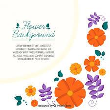 port orange florist background with orange flowers and violet leaves vector