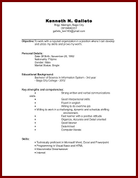Example Of Resume For Students by 28 Sample Resume For Students With No Experience 6 Sample Cv