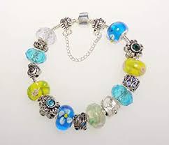 bracelet pandora murano images Pandora inspired charm bracelet aqua blue and green jpg
