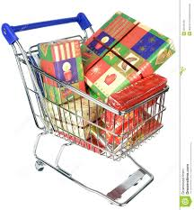a shopping trolley cart with christmas gifts royalty free stock