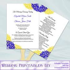 turquoise silver wedding program fan template diy floral ceremony
