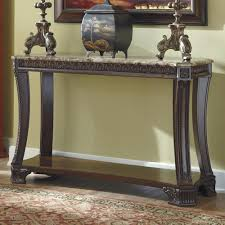 signature design by ashley ledelle old world sofa table with