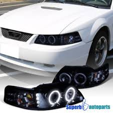 ebay mustang headlights 1999 2004 ford mustang led halo projector headlights glossy black