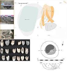 top plan of burial and associated photos above left tooth