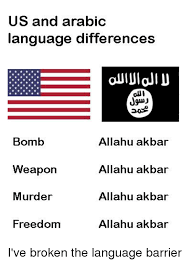 Arabic Meme - us and arabic language differences jguj bomb weapon murder freedom