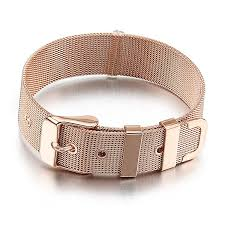 rose stainless steel bracelet images Men rose gold stainless steel bracelet cuff belt mesh buckle jpg