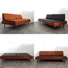 mid century modern walnut daybed bench sofa mutiple cushions