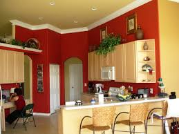 smart red painted kitchen rooms with brown wwoden bar stool and