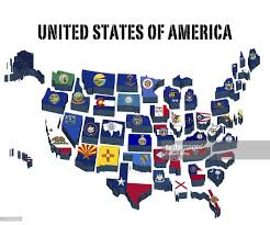 United States Of America State Map by 3d Map United States Of America With All State Flags Stock