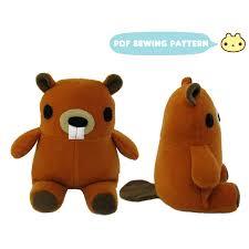 pdf sewing pattern cute chibi fox stuffed animal plush toy from