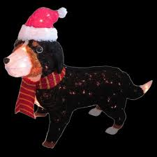 Home Depot Holiday Decorations Outdoor Home Accents Holiday 50 In Pre Lit Tinsel Bernese Mountain Dog