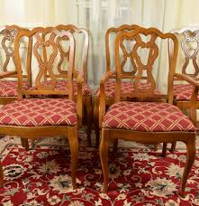 set of six walnut french provincial dining room chairs ebth