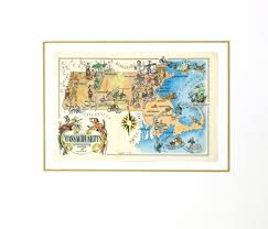 Plymouth Massachusetts Map by Massachusetts Pictorial Map 1946