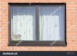brown plastic mass production window brick stock photo 95723800