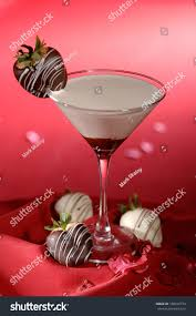 martini red white chocolate martini cocktail chocolate covered stock photo