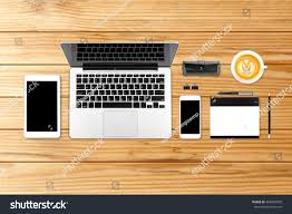 Mobile Laptop Computer Desk by Top View Laptop Computer Mobile Phone Stock Photo 468599909