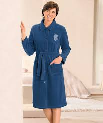 robes de chambre robe de chambre en molleton polaire 105 cm marine femme damart