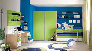 Bedroom Wall Ideas Futrustic Bedroom Design With Square Green Wardrobe And Blue Wall