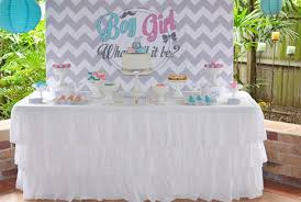 baby shower gender reveal pink and blue chevron themed gender reveal baby shower by sugar