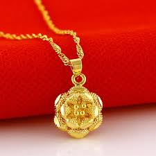 fine chain pendant necklace images Woman fine jewelry 18k gold yellow gold heart flower pendants jpg