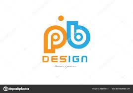 pb p b orange blue alphabet letter logo combination u2014 stock vector