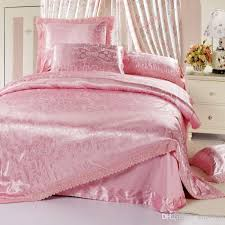 pink lace jacquard wedding satin queen king size bedding set noble