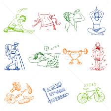 hand drawn doodle sketch icons set healthy lifestyle vector