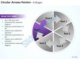 circular arrows intertwined flow chart process pointer 6 stages