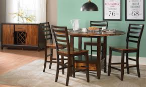dining room wood pub height dining set with round table and wood