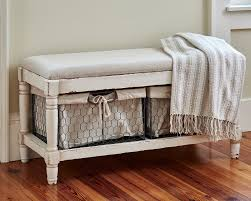 Bench With Storage Baskets by Beautiful Rustic Cream Bench With Two Wire Baskets For Storage