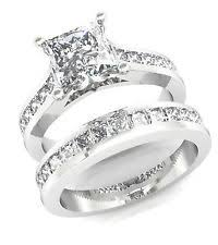 princess cut white gold engagement ring princess cut 2 pcs engagement wedding ring band set solid 14k