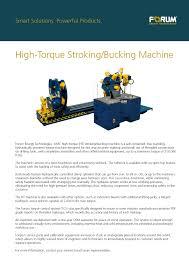 high torque stroking bucking unit forum energy technologies