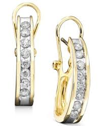 gold diamond hoop earrings diamond hoop earrings in 10k yellow or white gold 1 ct t w