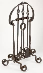 hand forged iron fire place tool set at 1stdibs