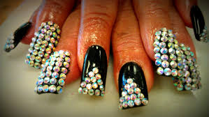 diamond crystal bling bling nail tutorials youtube