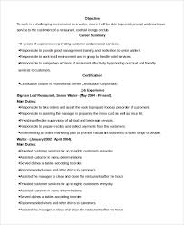 Server Resume Samples by Sample Waiter Resume 6 Documents In Pdf Word