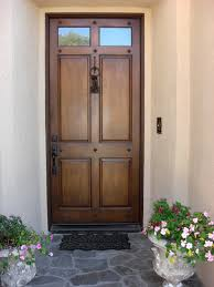 decorating stylish dark brown wooden front entry door with black