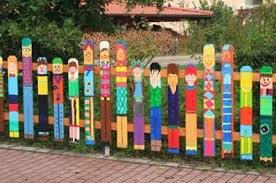 colorful painting ideas for fences adding bright decorations to
