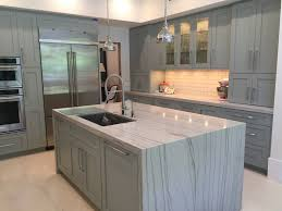 gray quartzite waterfall island countertop kitchens pinterest