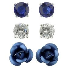 flower earrings cubic zirconia studs and flower earrings set of 3 blue target
