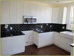White Kitchen Tile Backsplash Wonderful Black And White Kitchen Design Idea With Solid Black