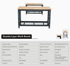 60 inch heavy duty wood top work bench garage metal work table