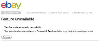 Site Unavailable - ebay site sometimes has problems feature unavailable or page