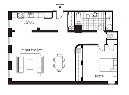 2 Bedroom Condo Floor Plan Brilliant One Bedroom Apartment Open Floor Plans Layout Ideas